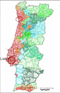 Map of Portugal highlighting the green, orange, and red zones for investment